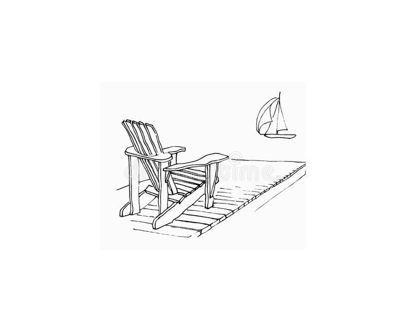 Summer dock. Simple hand drawn sketch of Adirondack chair on dock with sailing boat. Iconic summer scene royalty free illustration