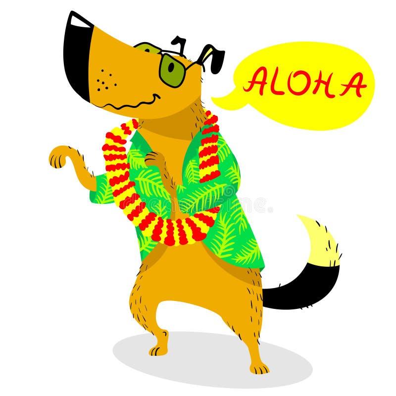 Summer dog character. Cute pet dancing with Hawaiian beads of fl. Owers and saing Aloha. Vector seasonal illustration with cartoon cheerful dog vector illustration