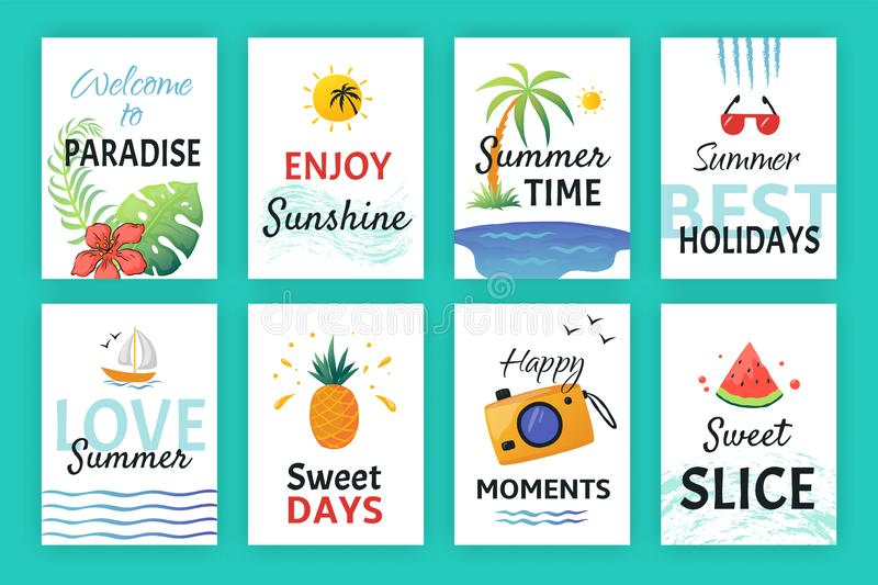 Summer doodle poster. Beach party banners with simple patterns and lettering, vacation sticker elements. Vector hand stock illustration