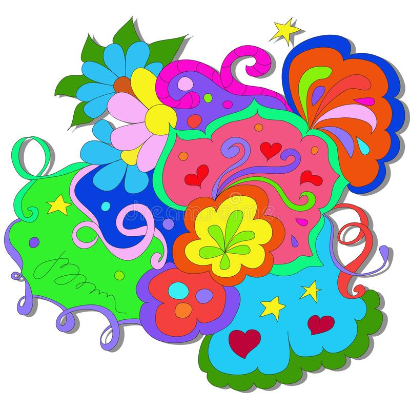 Summer Doodles with flowers and swirl on a white background. royalty free illustration