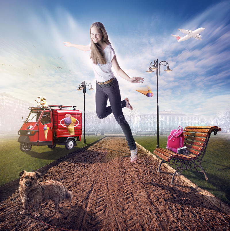 Summer dream. Image of girl flying in a dream about summer stock photography