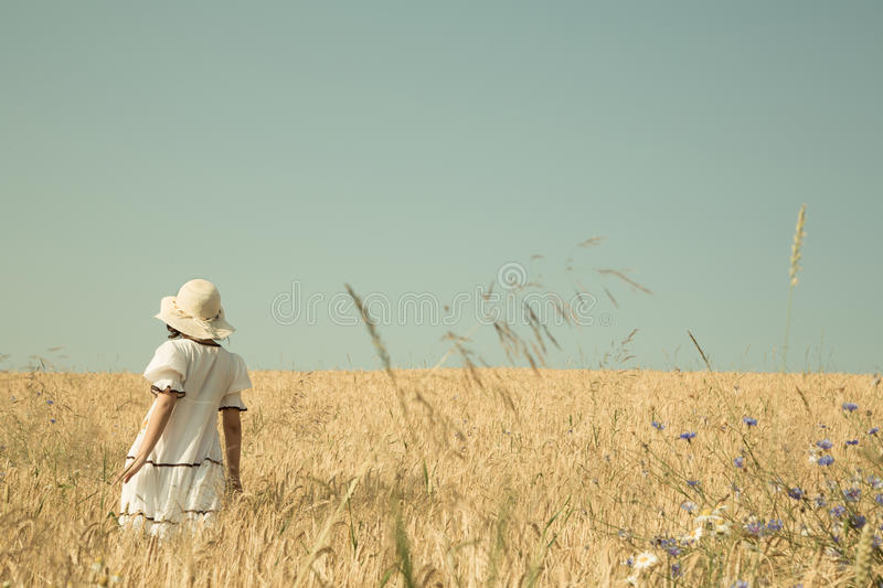Summer dreams. Girl walking in a field of wheat with blue sky re stock photos