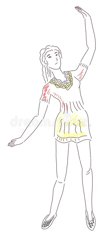 Summer dress illustration. Fashion illustration of a woman posing in a warm colored dress royalty free illustration