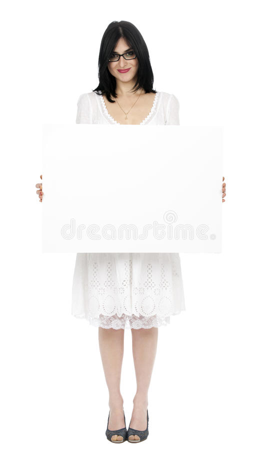 Free Summer Dress Woman Holding Sign Royalty Free Stock Photography - 29829457