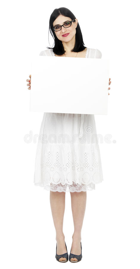 Free Summer Dress Woman Holding Sign Stock Images - 29914244