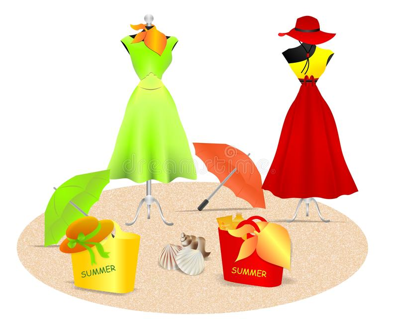Summer dresses, cdr vector royalty free stock photos