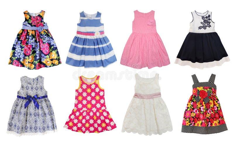 Summer dresses for little girls. Isolated on white stock photos
