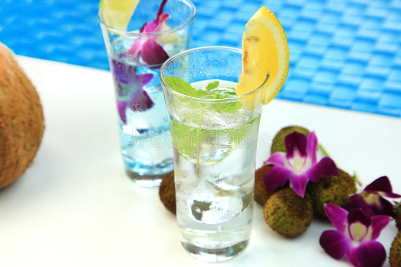 Summer drink. It is the drink of the lychee which imaged summer stock photography