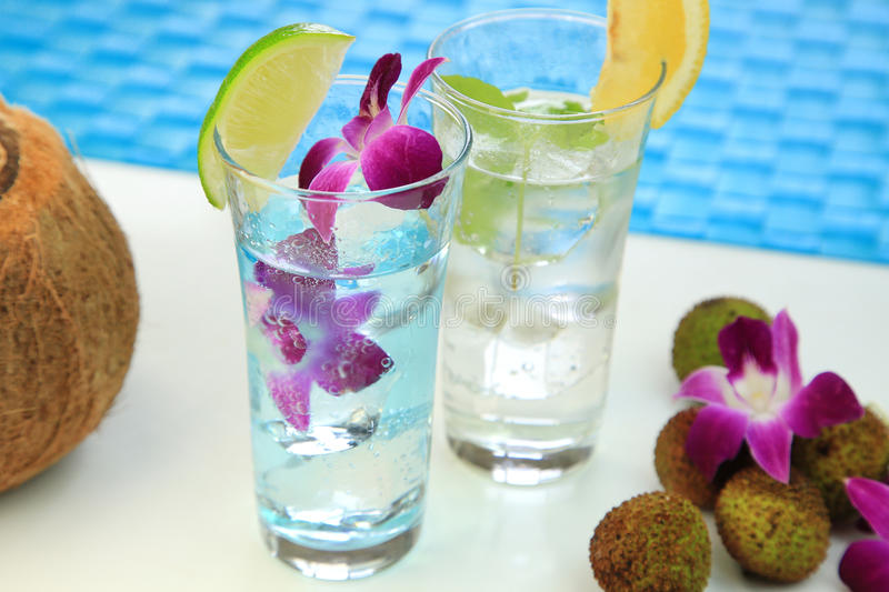 Summer drink. It is the drink of the lychee which imaged summer stock images