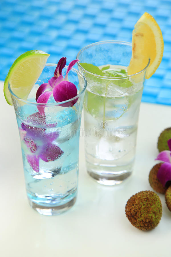 Summer drink. It is the drink of the lychee which imaged summer royalty free stock images