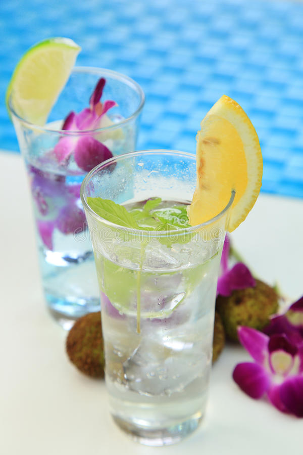 Summer drink. It is the drink of the lychee which imaged summer stock image