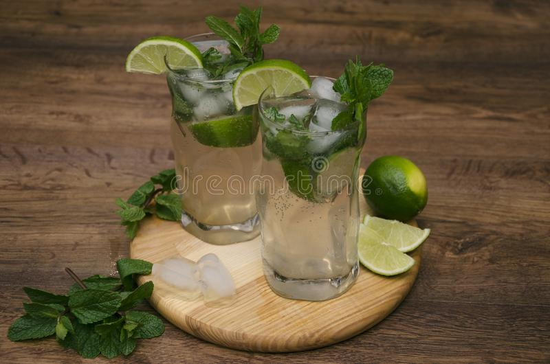 Drink with mint and lime royalty free stock image