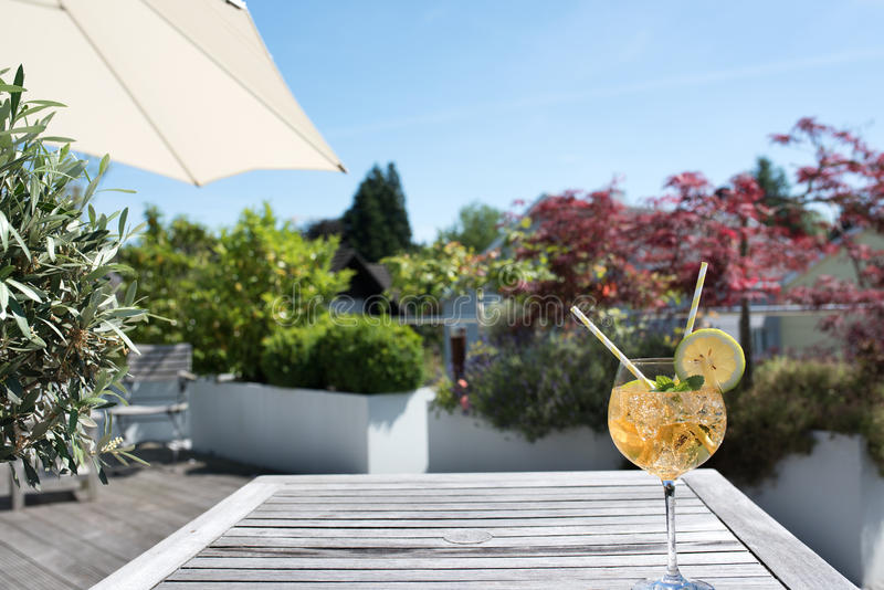 Summer drink on a terrace royalty free stock photos
