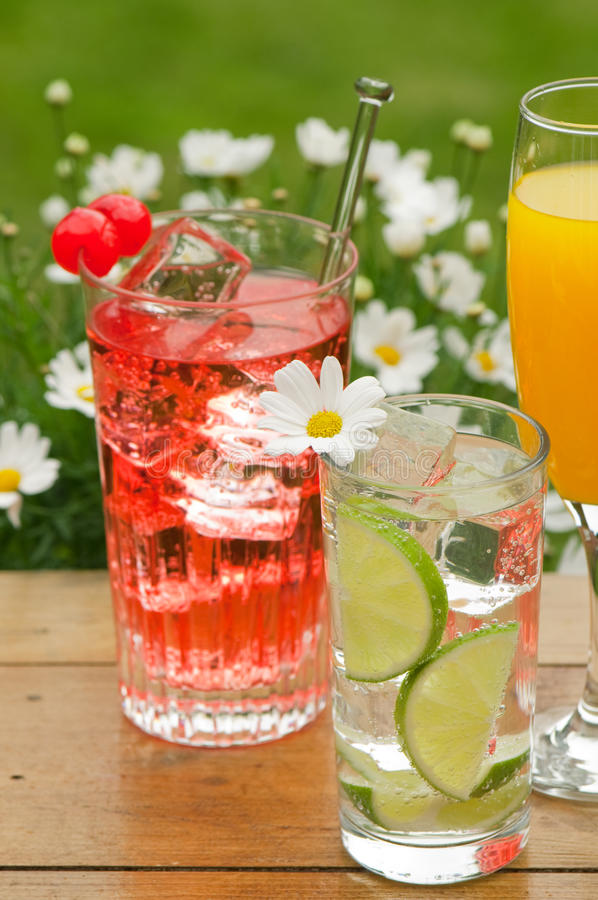 Summer Drinks. In the garden on rustic table with a background of daisies stock image