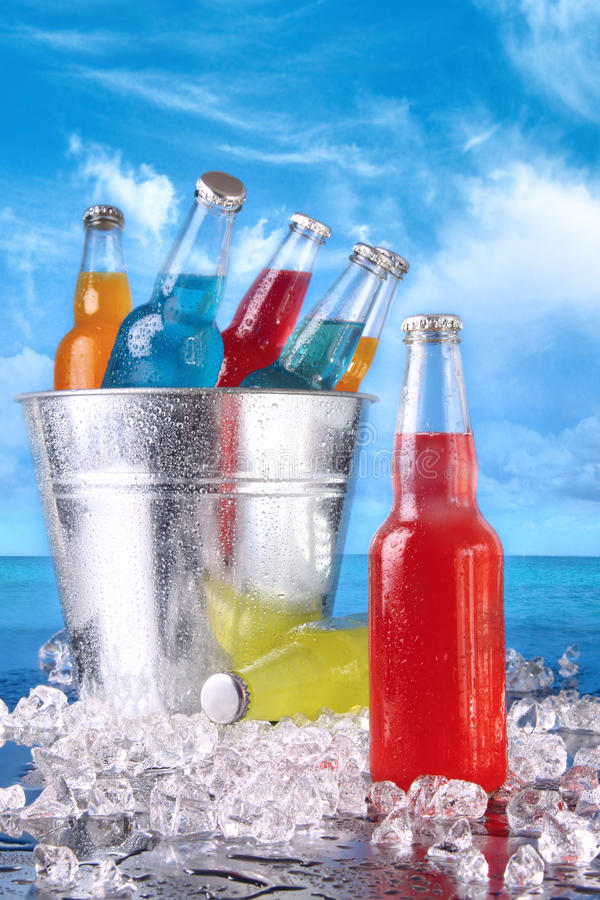 Summer Drinks In Ice Bucket On The Beach Royalty Free