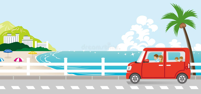 Summer drive in the Seaside street - family stock illustration