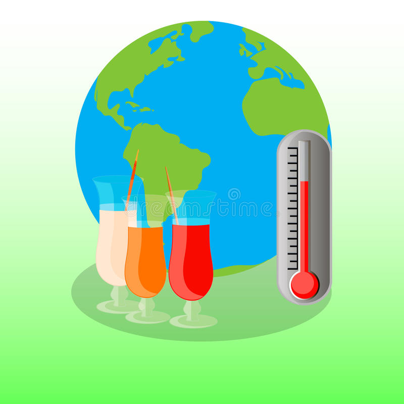 Summer on earth, image of earth globe, colorfull cocktail royalty free stock photo