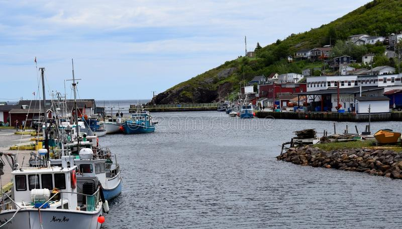 Summer East coast scene at Petty harbour Newfoundland royalty free stock image