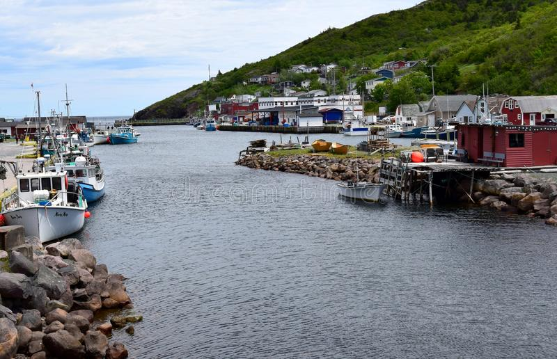 Summer East coast scene at Petty harbour Newfoundland royalty free stock photo