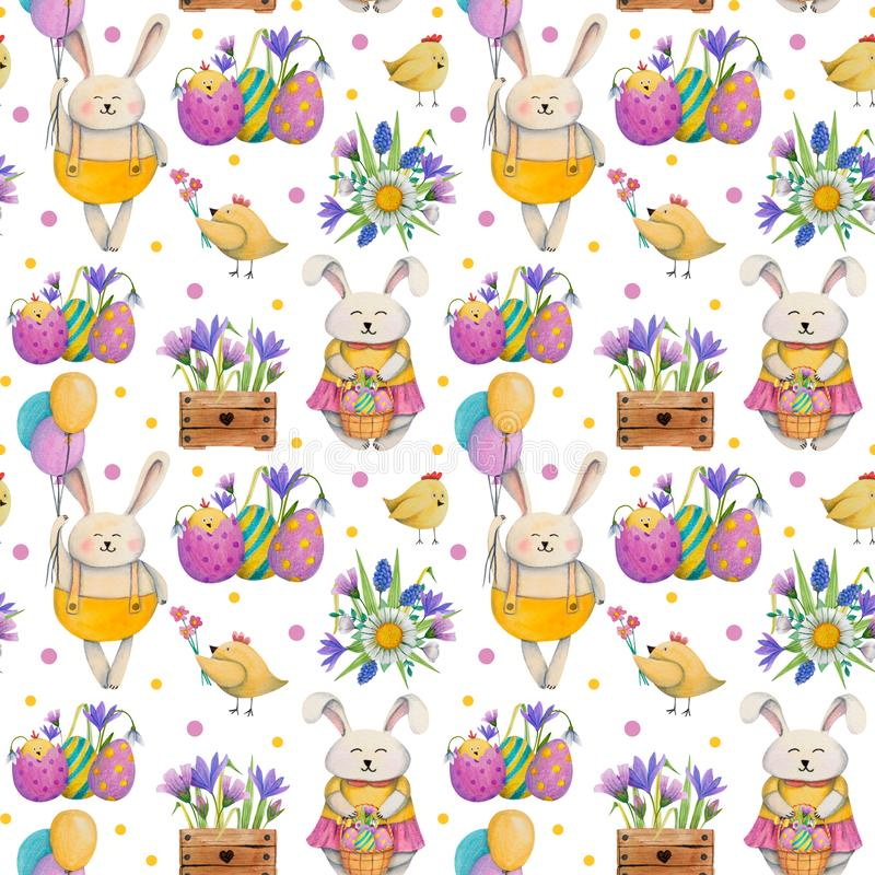 Summer, easter, spring seamless pattern with bunnies rabbits, eggs, flowers, ballons and chickens. Hand drawn watercolor and colored pencils illustration stock illustration
