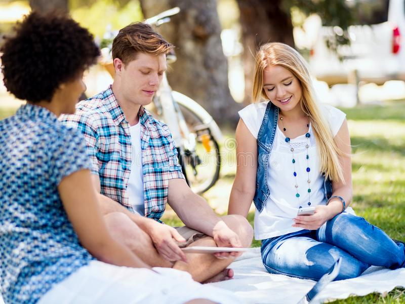 Summer, education, campus and student concept stock image