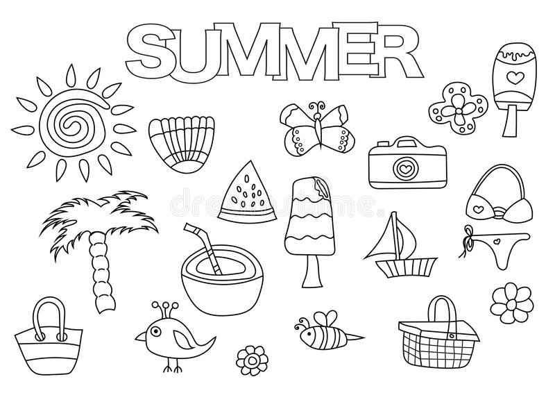 Summer Elements Hand Drawn Set. Coloring Book Template. Outline ...
