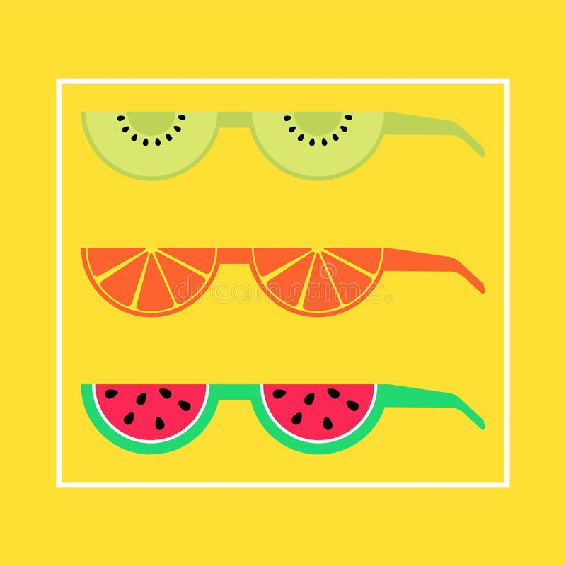 Summer epic sunglasses made out of fruits stock illustration