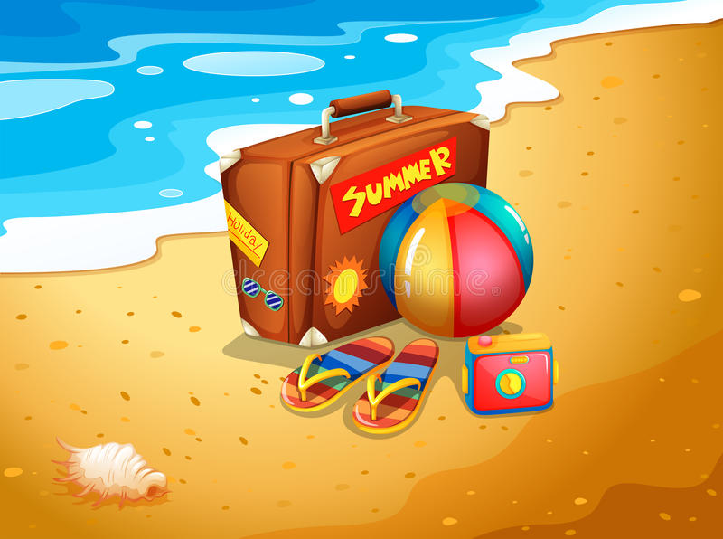 A summer escapade at the beach. Illustration of a summer escapade at the beach vector illustration
