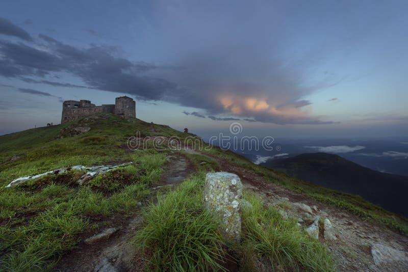 A Summer Evening Near Mountains Castle stock image