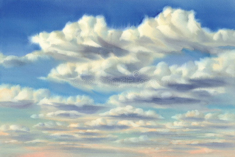 Summer evening sky with clouds watercolor background stock image