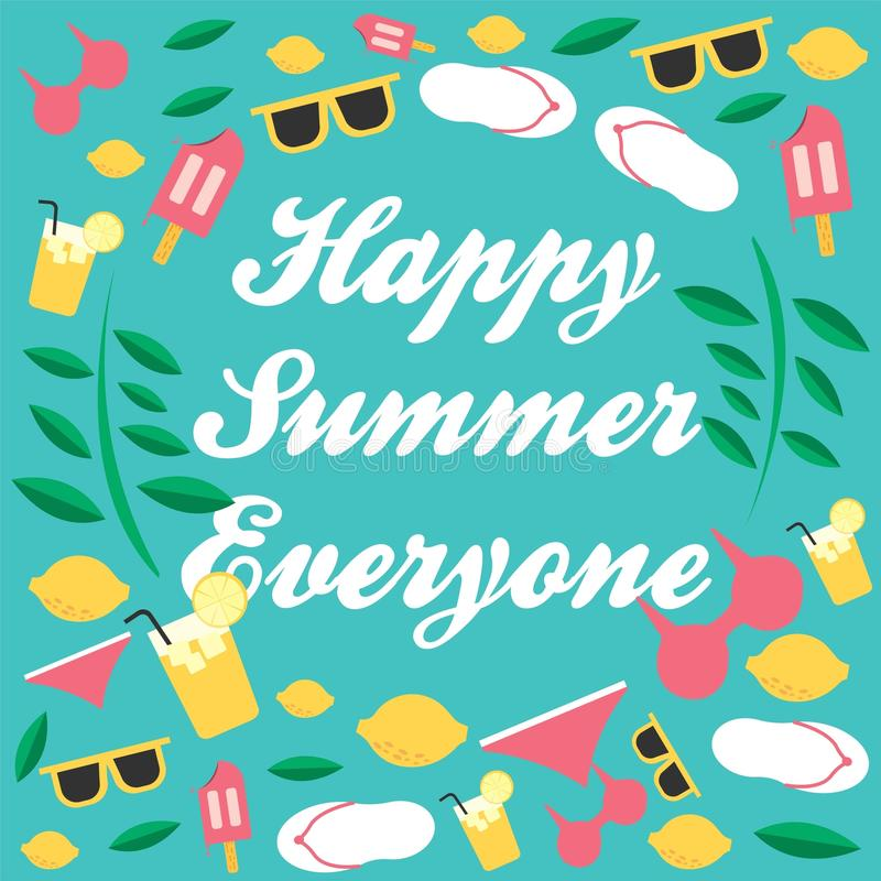 Summer everyone. What time is it? Summer time! Enjoy for summer everyone stock illustration
