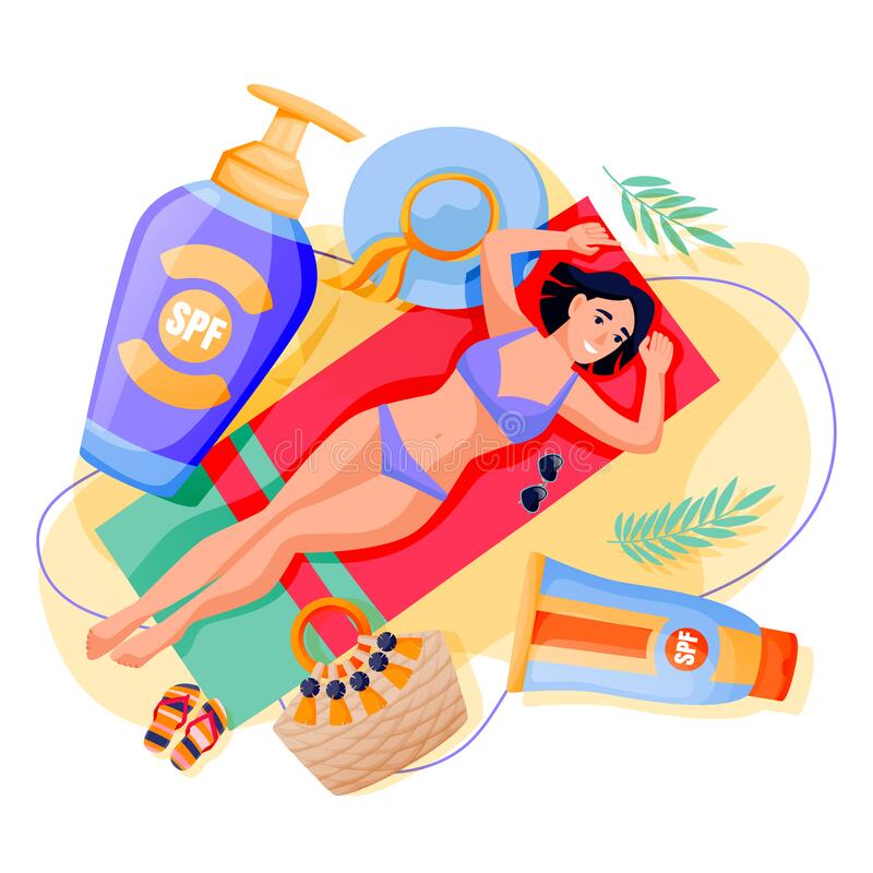 Free Summer Face Body Solar Protection. Woman Sunbathing With Sunblock. Vector Illustration Of Girl And Sunscreen Cosmetics Royalty Free Stock Image - 191913076