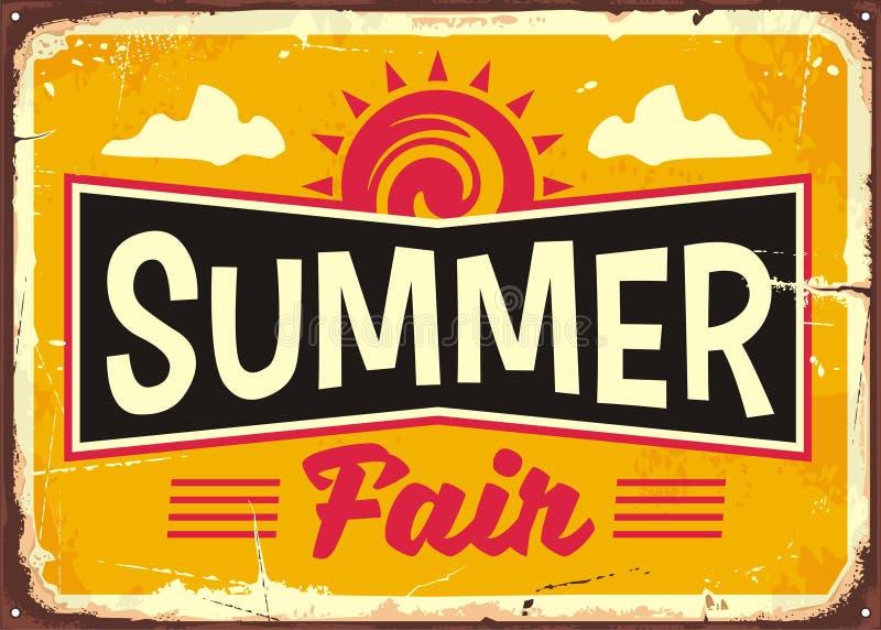 Summer fair retro tin sign design concept royalty free illustration