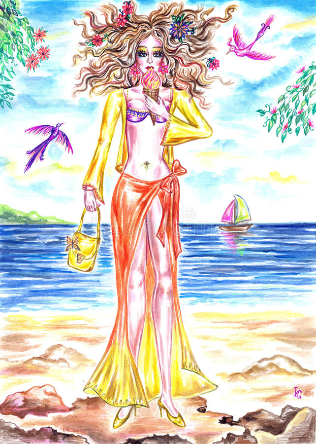 Summer fairy girl eating ice cream on the shore of sea. Gorgeous summer fairy girl with flowers in her hair and eating ice cream on the shore of sea bay. Hand vector illustration