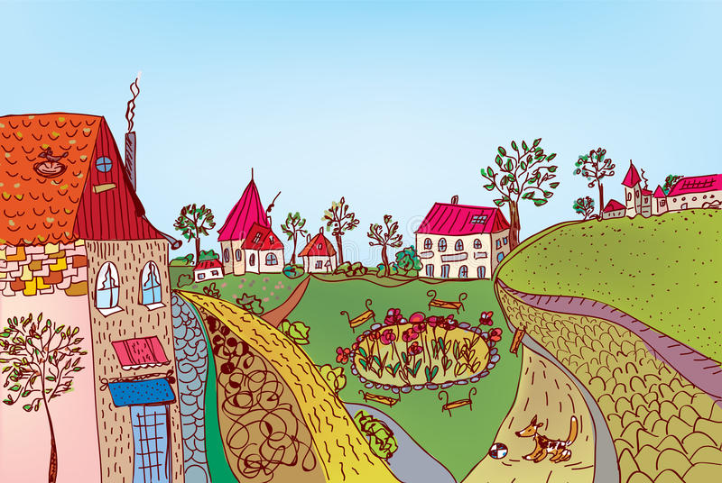 Download Summer Fairytale Town Street Stock Vector - Image: 21328408