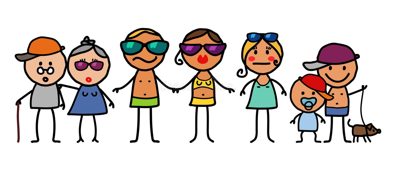 Download Summer family stock vector. Image of parents, aged, people - 6779941