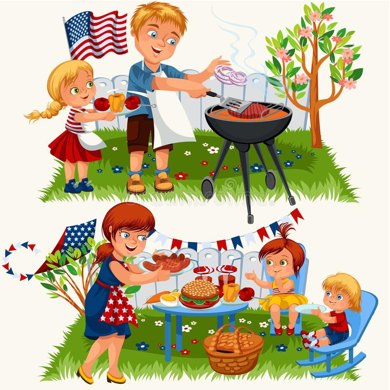 Summer family grill and barbeque in nature. Cartoon happy father mother and daughters in bbq party eating food vector illustration. Parents and children at vector illustration