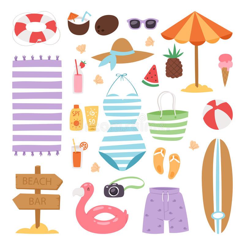 Summer fashion beach sea time swimsuit clothes and accessories vector illustration vacation bathing suit looks image royalty free illustration