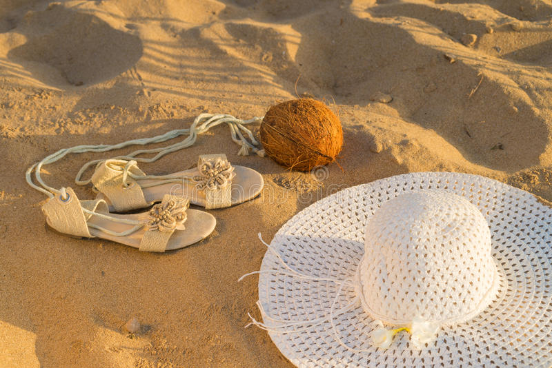 Summer fashion on the beach royalty free stock images
