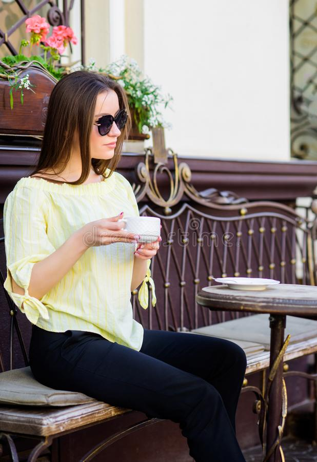 Summer fashion beauty. Meeting in cafe. girl relax in cafe. Business lunch. stylish woman in glasses drink coffee. good. Morning. Breakfast time. morning coffee royalty free stock photos
