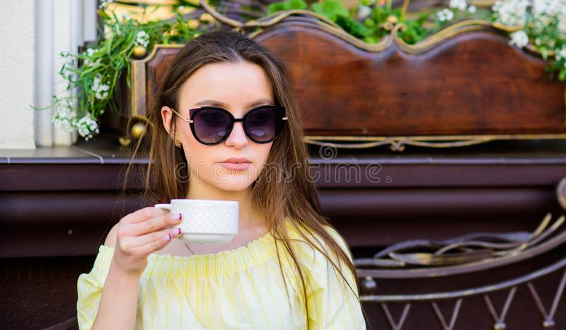 Summer fashion beauty. Meeting in cafe. good morning. Breakfast time. morning coffee. Waiting for date. stylish woman in stock images
