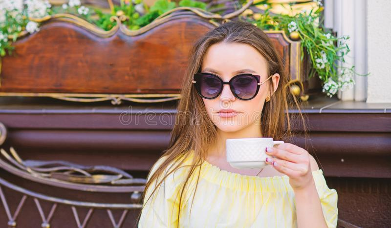 Summer fashion beauty. Meeting in cafe. good morning. Breakfast time. morning coffee. Waiting for date. stylish woman in royalty free stock images