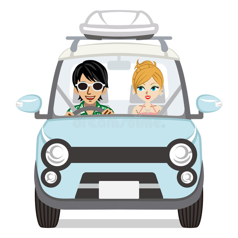 Summer fashion couple riding the car- royalty free illustration