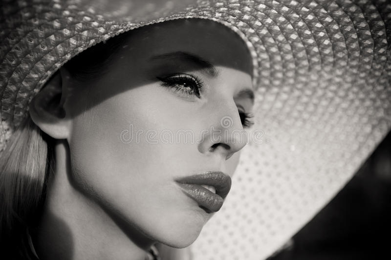 Summer fashion girl with hat royalty free stock image