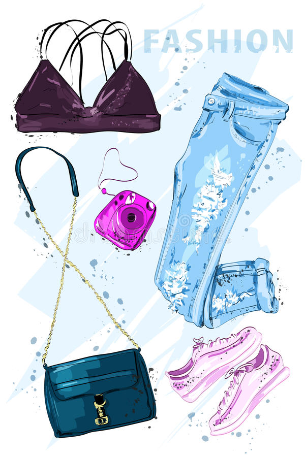 Summer fashion set. Fashion outfit. Stylish trendy clothing. Fashion summer girl clothes set, accessories. Woman`s fashion look. Sketch. Vector illustration vector illustration