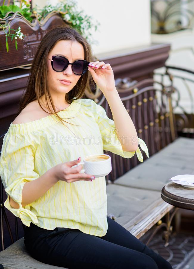 Summer fashion. Starting day with good news. Meeting in cafe. good morning. Breakfast time. girl relax in cafe. Business royalty free stock photos