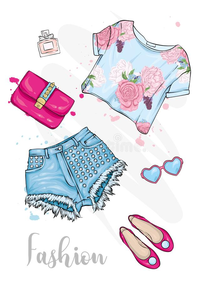 Summer fashionable outfit. Short top, shorts, shoes, bag and glasses. Vector illustration, fashion and style. A sketch. vector illustration