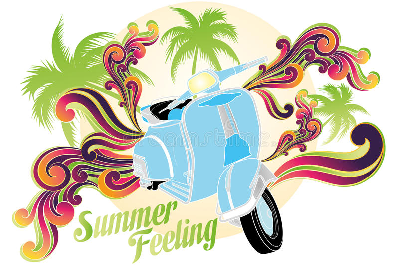 Summer feeling. Retro illustration ( on white) of motobike with palms, sun and colorful swirls stock illustration