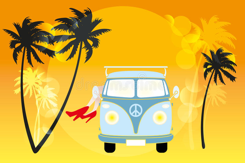 Summer feeling. Retro van, palms, sun and legs of a woman with red high-heels - illustration of summer feeling vector illustration