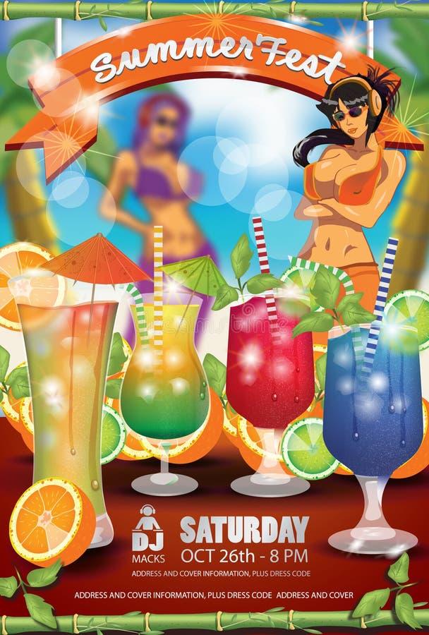 Summer Fest Flyer Cocktails royalty free stock image